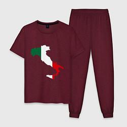 Пижама хлопковая мужская Италия (Italy) цвета меланж-бордовый — фото 1