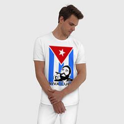 Пижама хлопковая мужская Fidel: Viva, Cuba! цвета белый — фото 2