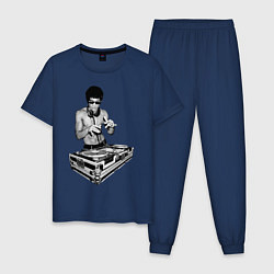 Пижама хлопковая мужская Брюс Ли Dj цвета тёмно-синий — фото 1