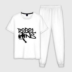 Пижама хлопковая мужская Wu-Tang - Rebel Ins цвета белый — фото 1