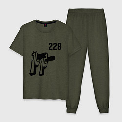 Пижама хлопковая мужская 228 цвета меланж-хаки — фото 1