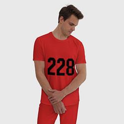 Пижама хлопковая мужская 228 цвета красный — фото 2
