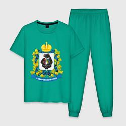Пижама хлопковая мужская Хабаровский край цвета зеленый — фото 1