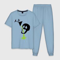 Пижама хлопковая мужская Череп с бокалом цвета мягкое небо — фото 1