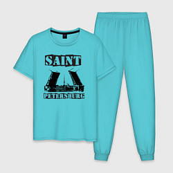 Пижама хлопковая мужская Санкт-Петербург цвета бирюзовый — фото 1