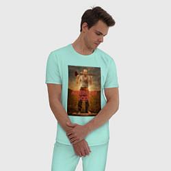 Пижама хлопковая мужская American Gods: Czernobog цвета мятный — фото 2