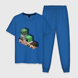 Пижама хлопковая мужская Minecraft Cube's цвета синий — фото 1