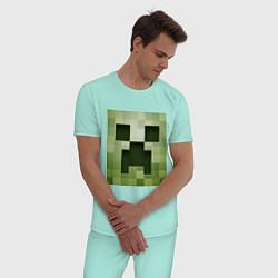 Пижама хлопковая мужская Мinecraft creeper цвета мятный — фото 2