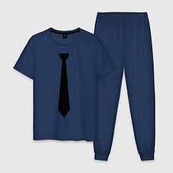 Пижама хлопковая мужская Галстук цвета тёмно-синий — фото 1
