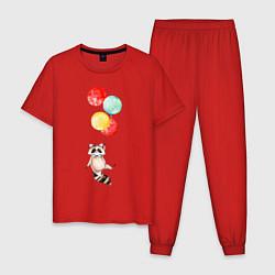 Пижама хлопковая мужская Енот на шариках цвета красный — фото 1