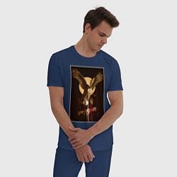 Пижама хлопковая мужская Твин Пикс цвета тёмно-синий — фото 2