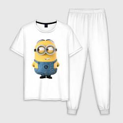 Пижама хлопковая мужская Хитрый Миньон цвета белый — фото 1
