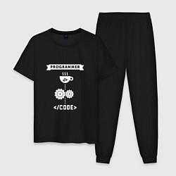 Пижама хлопковая мужская Принцип работы программиста цвета черный — фото 1
