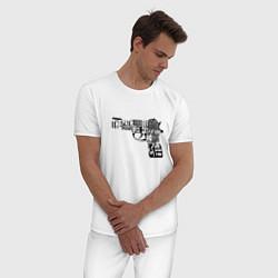 Пижама хлопковая мужская Pulp Fiction Gun цвета белый — фото 2