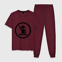 Пижама хлопковая мужская Dj за пультом цвета меланж-бордовый — фото 1