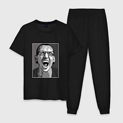 Пижама хлопковая мужская Bennington Mono цвета черный — фото 1