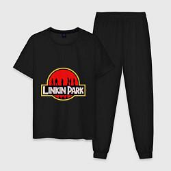 Пижама хлопковая мужская Linkin Park: Jurassic Park цвета черный — фото 1