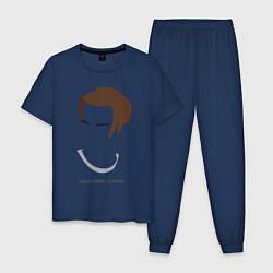 Пижама хлопковая мужская SKAM: Christoffer Schistad цвета тёмно-синий — фото 1