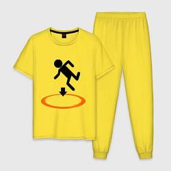 Пижама хлопковая мужская Portal (Портал) цвета желтый — фото 1