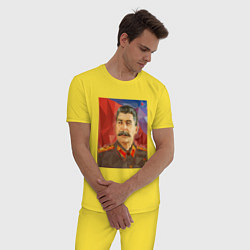Пижама хлопковая мужская Сталин: полигоны цвета желтый — фото 2