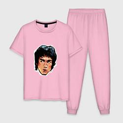 Пижама хлопковая мужская Bruce Lee Art цвета светло-розовый — фото 1