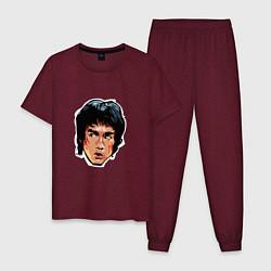 Пижама хлопковая мужская Bruce Lee Art цвета меланж-бордовый — фото 1