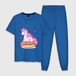 Пижама хлопковая мужская Единорог на пончике цвета синий — фото 1
