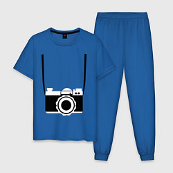 Пижама хлопковая мужская Фотик на шее цвета синий — фото 1