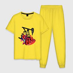 Пижама хлопковая мужская Сердце нефтяника цвета желтый — фото 1