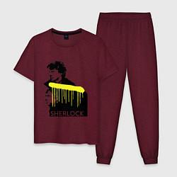 Пижама хлопковая мужская Sherlock: Yellow line цвета меланж-бордовый — фото 1