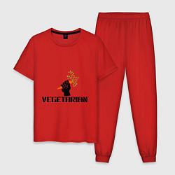 Пижама хлопковая мужская Vegetarian (Вегетерианство) цвета красный — фото 1