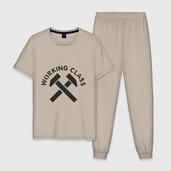 Пижама хлопковая мужская Working class цвета миндальный — фото 1