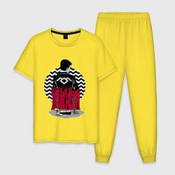 Пижама хлопковая мужская Twin Peaks цвета желтый — фото 1