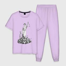 Пижама хлопковая мужская Фемида на костях цвета лаванда — фото 1