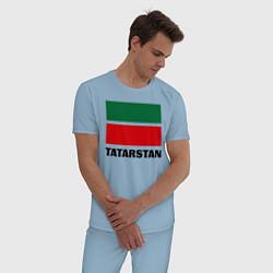 Пижама хлопковая мужская Флаг Татарстана цвета мягкое небо — фото 2