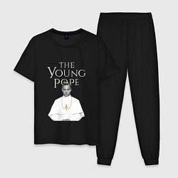Пижама хлопковая мужская The Young Pope цвета черный — фото 1
