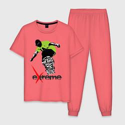 Пижама хлопковая мужская Экстрим в футболке цвета коралловый — фото 1
