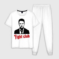 Пижама хлопковая мужская Fight Club: Edward Norton цвета белый — фото 1
