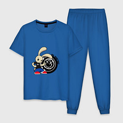 Пижама хлопковая мужская Blink-182: Street rabbit цвета синий — фото 1