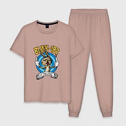 Пижама хлопковая мужская Blink-182: Fuck you цвета пыльно-розовый — фото 1