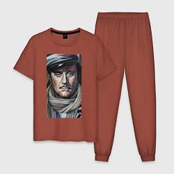 Пижама хлопковая мужская Остап Бендер: портрет цвета кирпичный — фото 1