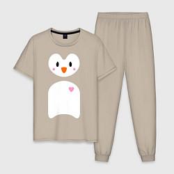 Пижама хлопковая мужская Привет от пингвина цвета миндальный — фото 1