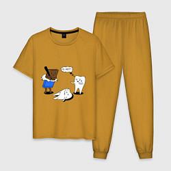 Пижама хлопковая мужская Шоколад и зубы цвета горчичный — фото 1