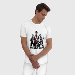 Пижама хлопковая мужская Группа Green Day цвета белый — фото 2
