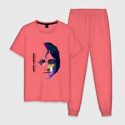 Пижама хлопковая мужская John Lennon: Techno цвета коралловый — фото 1