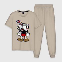 Пижама хлопковая мужская Cuphead Boy цвета миндальный — фото 1