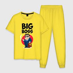 Пижама хлопковая мужская Big Boss / Начальник цвета желтый — фото 1