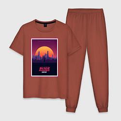 Пижама хлопковая мужская Бегущий по лезвию 2049 цвета кирпичный — фото 1