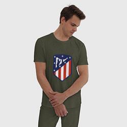 Пижама хлопковая мужская Atletico Madrid цвета меланж-хаки — фото 2
