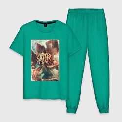 Пижама хлопковая мужская Stranger Things: Monster Flower цвета зеленый — фото 1